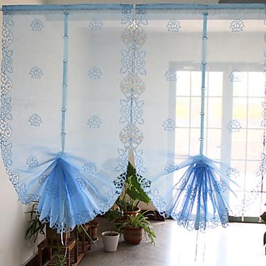 Et panel moderne / neoklassisk blomster / botanikk blå stue lin ...