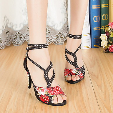 Buy Non Customizable Women's Dance Shoes Leather / Patent Latin Jazz Heels Cuban HeelPractice Beginner