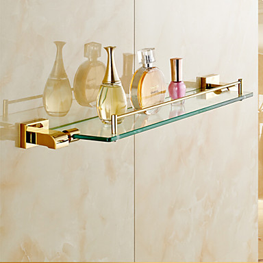 bathroom shelves gold wall mounted glass shelf bathroom. Black Bedroom Furniture Sets. Home Design Ideas