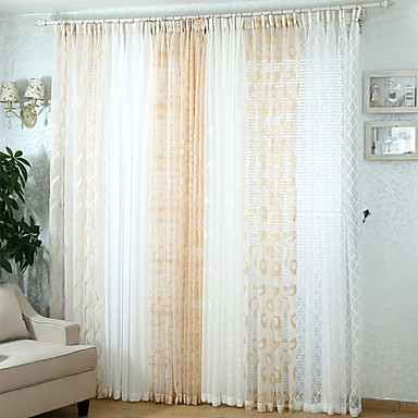 To paneler moderne solid multi farge soverom polyester sheer ...