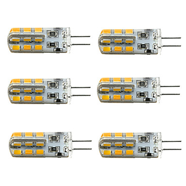 6pcs Dimmable G4 3W 24x2835SMD 180LM 3000K/6000K Warm White/Cool White Light LED Corn Bulb(DC12V)