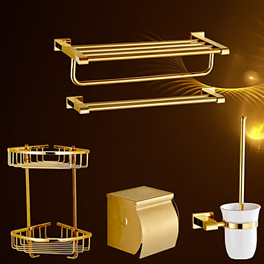 Set di accessori per il bagno ti pvd a muro 60cm 21cm 14cm - Accessori per bagno moderno ...