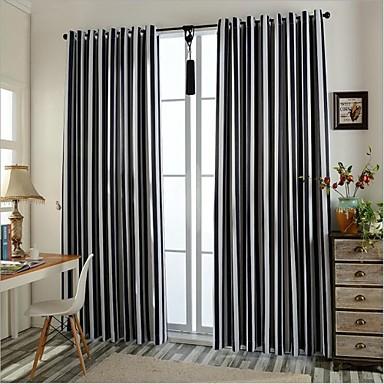 deux panneaux europ en rayure noir chambre coucher polyester rideaux occultants rideaux de. Black Bedroom Furniture Sets. Home Design Ideas