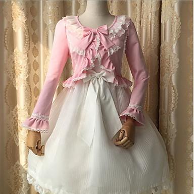 Buy Sweet Lolita Long Sleeve N/A White / Black Pink Yellow Polyester Dress