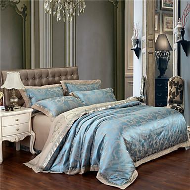 fleur ensembles housse de couette 4 pi ces coton luxe jacquard coton lit 2 places 39 queen 39 lit 2. Black Bedroom Furniture Sets. Home Design Ideas