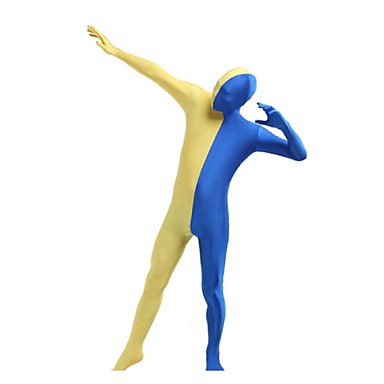 Buy Zentai Suits Ninja Cosplay Costumes Yellow / Blue Patchwork Leotard/Onesie Spandex Shiny Metallic UnisexHalloween