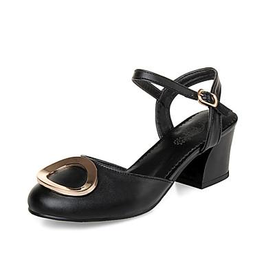 Zapatos de mujer tac n robusto tacones punta redonda for Zapatos de trabajo blancos
