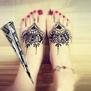 Halloween 12 black herbal henna cones temporary tattoo for Halloween temporary tattoos