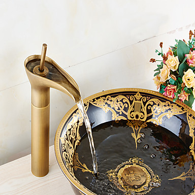 Bathroom sink faucet in vintage style antique brass finish - Grifos rusticos ...