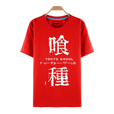 Buy Inspired Tokyo Ghoul Ken Kaneki Anime Cosplay Costumes T-shirt Print Red Short Sleeve Top