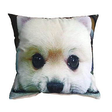 Decorative Pillows Dog : 3D Design Pint White Dog Decorative Throw Pillow Case Cushion Cover for Sofa Home Decor ...