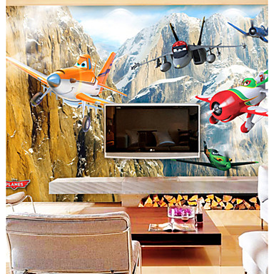Jammory large murals aircraft cartoon fantasy 3d wall for Cockpit wall mural