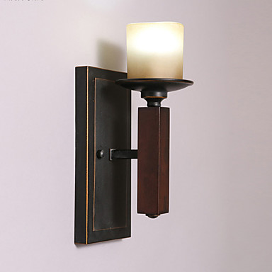 Wall Light Metal Box : Wooden Wall Light,Black Metal with Glass Shades, Living room Bedroom Dining Room Kitchen Bar ...