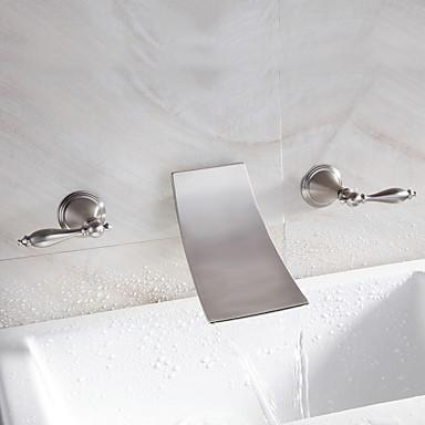 Waterval badkamer wastafel kraan wijdverspreide eigentijds ontwerp kraan nikkel finish 4997238 - Badkamer meubilair ontwerp eigentijds ...
