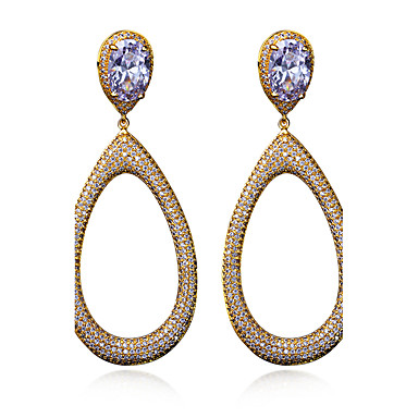 Buy Beautiful Fashion Accessories Jewelry Earrings 18K Gold Platinum Plated Cubic Zirconia Party Big Drop