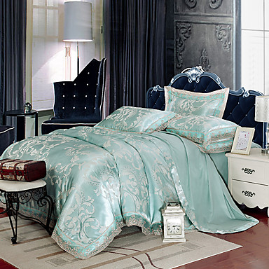light blue bedding set queen king size luxury silk cotton. Black Bedroom Furniture Sets. Home Design Ideas