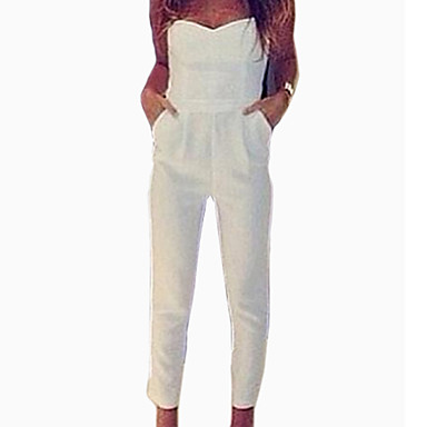 Women's Sexy Bodycon Casual Cute Plus Sizes Micro Elastic Thin Sleeveless Jumpsuits (Microfiber)