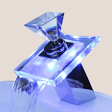 Bathroom Sink Faucets Color Changing LED Waterfall (Glass Handle)