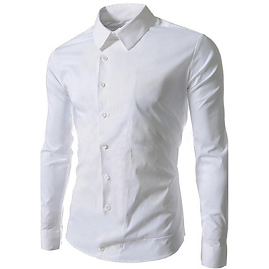 Men's Plus Size Slim Casual Pure Long Sleeved Shirt