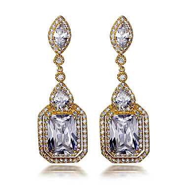 Buy Drop Earrings AAA Cubic Zirconia Fashion Bridal European Zircon Copper Gold Plated Square Jewelry ForWedding Party Daily