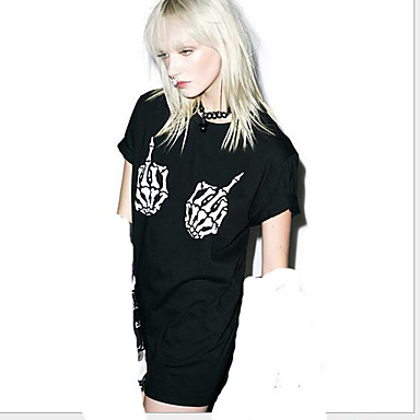 Buy Punk Lolita Outfits Short Sleeve N/A Black Dress Cotton