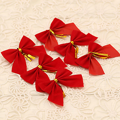12pcs red bowknot style merry christmas tree decoration for Outdoor merry christmas ornaments
