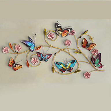 Buy E-HOME® Metal Wall Art Decor,Purple Flowers Colorful Butterflies Decor One PCS