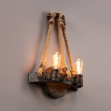 Vintage Style Bedroom Wall Lights : Vintage Industrial Style Hemp Rope Wall Light Metal Bedroom / Dining Room / Kitchen Game Room ...