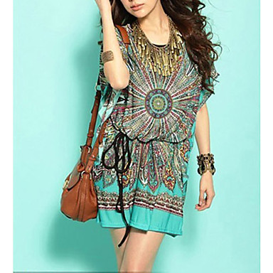 Women's Boho Holiday Boho Loose/Tunic Dress,Print Round Neck Mini Short Sleeve Green Silk/Cotton/Polyester Summer Mid Rise Stretchy