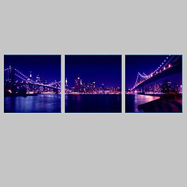 e home city bridge night canvas print with led lights set of 3 2752127 2016. Black Bedroom Furniture Sets. Home Design Ideas