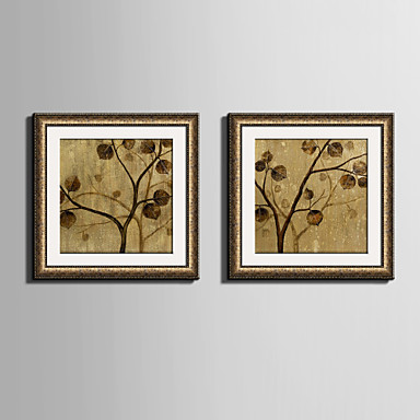 Buy E-HOME® Framed Canvas Art, Yellow Leaves Tree Print Set 2