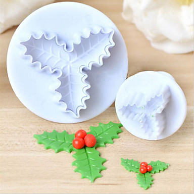 Cake Decorating Mini Holly Leaves : 2pcs Holly Leaf Leaves Plastic Cake Cutter Plunger Fondant ...