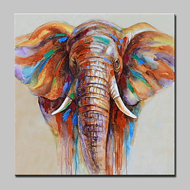 100 hand painted elephant animal oil painting on canvas for Best brand of paint for kitchen cabinets with abstract panel wall art