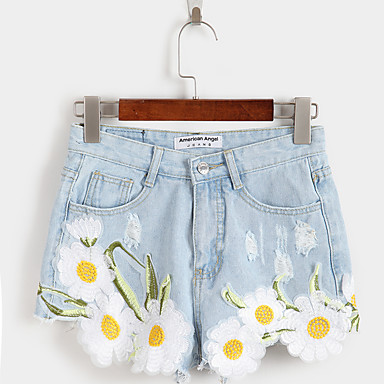 Women's Embroidery Spot Summer fresh and elegant embroidered flowers small frayed denim shorts shorts female college wind
