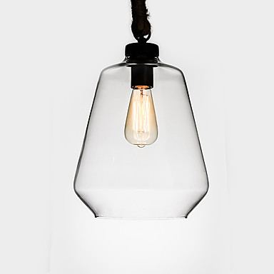 Retro Industrial Creative Glass with Hemp Rope Pendant Lamp for the Bedroom / Dining Room / Bar / Coffee Room Decorate Metal Drop Light