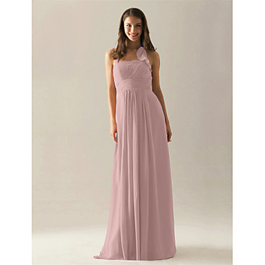 Lanting Bride® Floor-length Chiffon Bridesmaid Dress - A-line Halter Plus Size / Petite with Draping / Ruffles / Ruching / Pleats