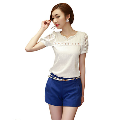 Women's Solid White Blouse, Little V Neck Hollow Out Short Sleeve