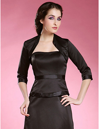 Buy Wedding Wraps Coats/Jackets 3/4-Length Sleeve Satin Black Party/Evening High Neck Open Front