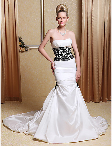 Taffeta Strapless Trumpet Wedding Dresses With Beaded Lace : Lanting bride trumpet mermaid petite plus sizes wedding