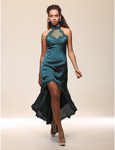 Buy Cocktail Party Dress - High Low Sheath / Column Halter Neck Floor-length Asymmetrical Stretch Satin Chiffon