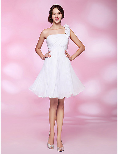 Buy Cocktail Party / Homecoming Graduation Wedding Dress - Open Back Plus Size Petite A-line Princess One Shoulder Knee-length