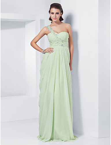 Buy TS Couture® Prom / Formal Evening Military Ball Dress - Elegant Plus Size Petite Sheath Column One Shoulder Sweetheart Floor-length Chiffon