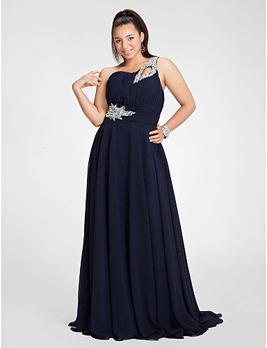Buy TS Couture® Prom / Formal Evening Military Ball Dress - Elegant Plus Size Petite Sheath Column One Shoulder Floor-length Chiffon Beading