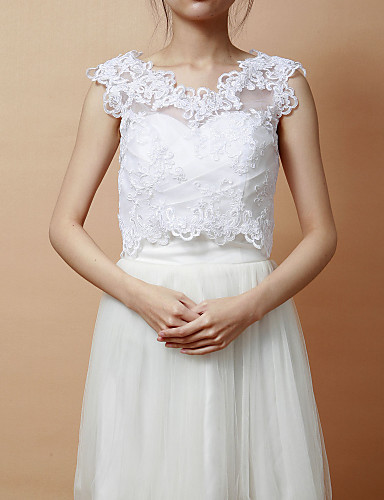 Wedding wraps vests sleeveless lace white party evening for Lace jackets for wedding dresses