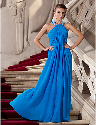 Buy TS Couture® Prom / Formal Evening Military Ball Dress - Elegant Plus Size Petite Sheath Column Halter Floor-length Chiffon Beading