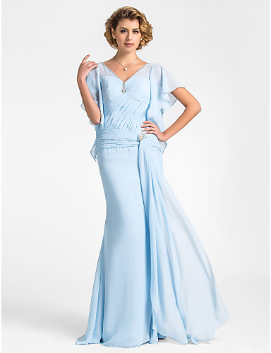 Buy Lanting Bride® Trumpet / Mermaid Plus Size Petite Mother Bride Dress Floor-length Short Sleeve Chiffon withBeading Crystal