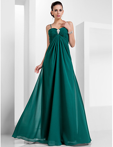 Buy TS Couture® Formal Evening / Military Ball Dress - Dark Green Plus Sizes Petite A-line Princess Sweetheart Spaghetti Straps Floor-length Chiffon