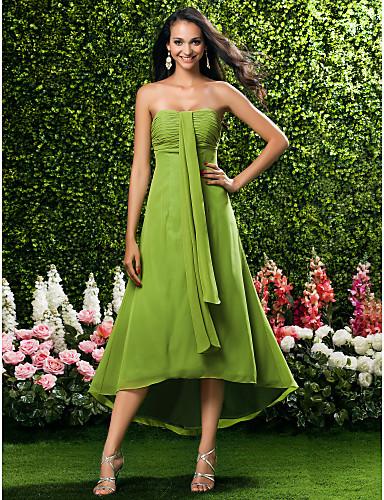 Buy Tea-length / Asymmetrical Chiffon Bridesmaid Dress Sheath Column Strapless Sweetheart Plus Size Petite Ruching