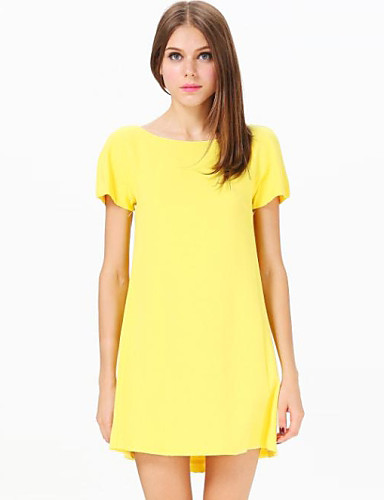 Women&-39-s Casual/Daily Cute Loose Dress-Solid Round Neck Mini Short ...