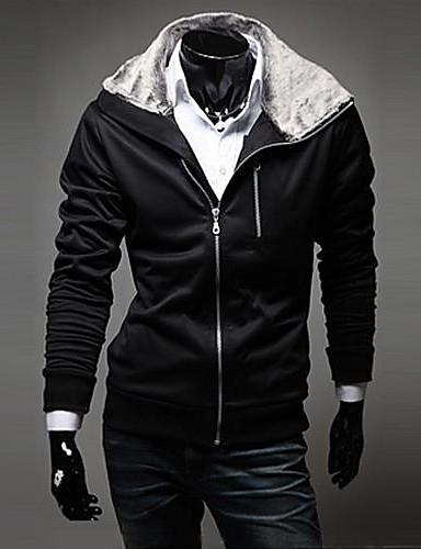 Buy Zian® Men's Hoodie Rabbit Fur Collar Fashion Slim Fleece Casual Long Sleeve Cardigan O